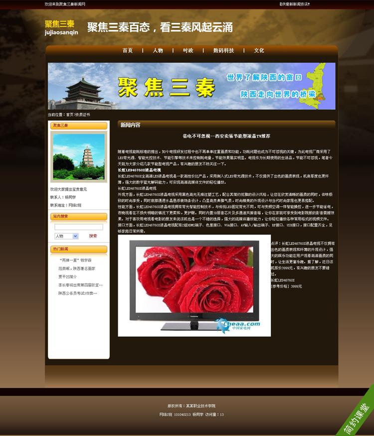 棕色新闻题材网页设计制作作业成品_学生网页设计制作